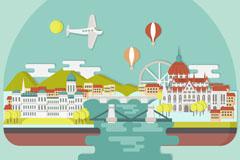 扁平化建筑和穿过城市的河流风景矢量图