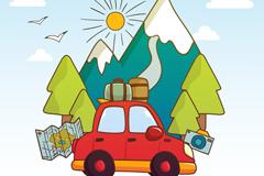 红色私家车和雪山风景矢量素材