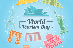 彩色世界旅游日著名建筑贺卡矢量图
