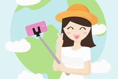 创意世界旅游日自拍女子矢量素材