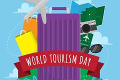 创意世界旅游日旅游用品矢量图