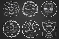 6款创意婚礼粉笔绘标签矢量图