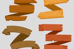 4款空白木制丝带条幅矢量素材