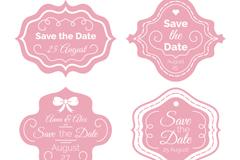 4款粉色婚礼标签设计矢量图