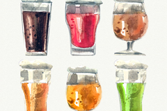 6款水彩绘杯装酒类设计矢量素材