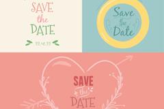 3款彩绘婚礼插画矢量素材