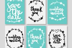 6款蓝色和白色婚礼卡片矢量图
