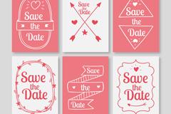 6款粉色婚礼邀请卡矢量素材