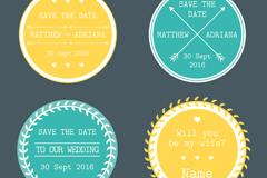 4款圆形婚礼标签设计矢量素材