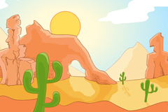 彩绘沙漠戈壁和仙人掌风景矢量图