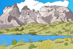 彩绘山与河流风景矢量素材