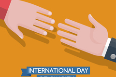 创意国际慈善日手臂贺卡矢量素材