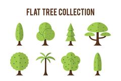 12款扁平化树木设计矢量素材