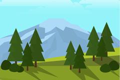 绿色山坡树木和远山风景矢量图