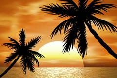 海边黄昏中的椰子树风景矢量图