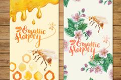 2款彩绘蜜蜂有机蜂蜜banner矢量