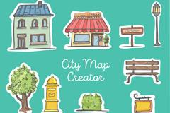 10款彩绘街道地图元素矢量素材