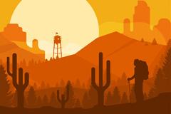 创意沙漠徒步旅行者剪影矢量图