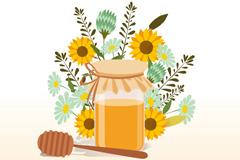 彩色花束和瓶装蜂蜜矢量素材
