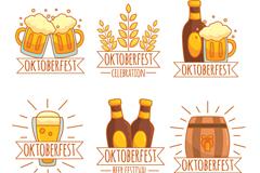 6款彩绘啤酒节标签矢量素材