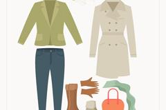 8款秋季女子时尚服饰与配饰矢量图