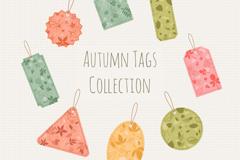 8款彩色秋季树叶吊牌矢量图