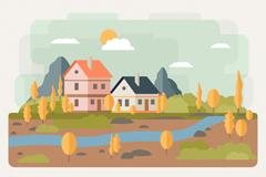 秋季河边建筑风景矢量素材