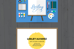 创意绘画工具艺术室名片矢量素材