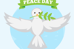 白色鸽子国际和平日贺卡矢量图