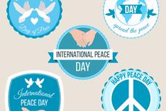 5款蓝色国际和平日标签矢量w88优德