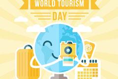 扁平化世界旅游日照相地球矢量图