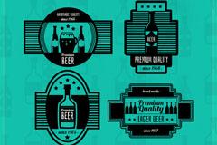4款复古黑色啤酒标签矢量图