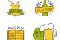 4款彩绘优质啤酒标签矢量素材