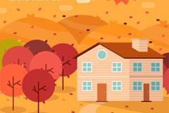 秋季郊外房屋风景矢量素材