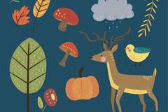 13款创意秋季动植物矢量图