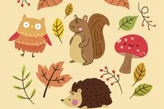 16款可爱秋季叶子和动物矢量图