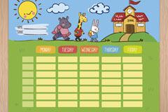 可爱上学的动物装饰课程表矢量素