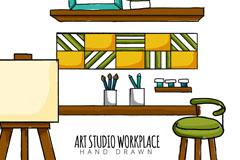 彩绘美术工作室设计矢量图