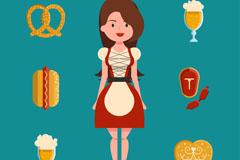 美丽啤酒节女郎和6款食物矢量图