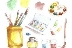 13款水彩绘美术工作室元素矢量图
