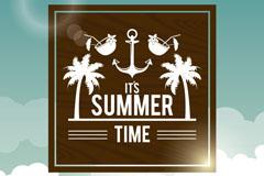 夏季热带沙滩度假海报矢量素材