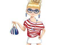 夏季时尚金发女孩矢量素材