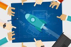创意火箭设计图纸和手臂矢量素材