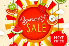 夏季水果装饰促销海报矢量素材