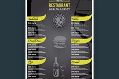 时尚黑色餐厅菜单设计矢量图