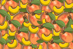 彩绘桃子无缝背景矢量素材