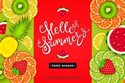 你好夏季热带水果切片海报矢量图