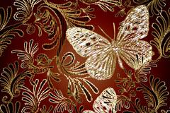 精美蝴蝶与花纹刺绣矢量图