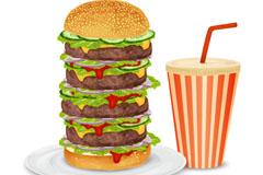 超级汉堡包和可乐矢量素材