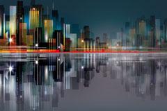 繁华城市楼群和倒影矢量素材